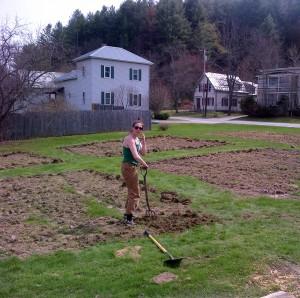 May 8, 2014:  Colleen shovels