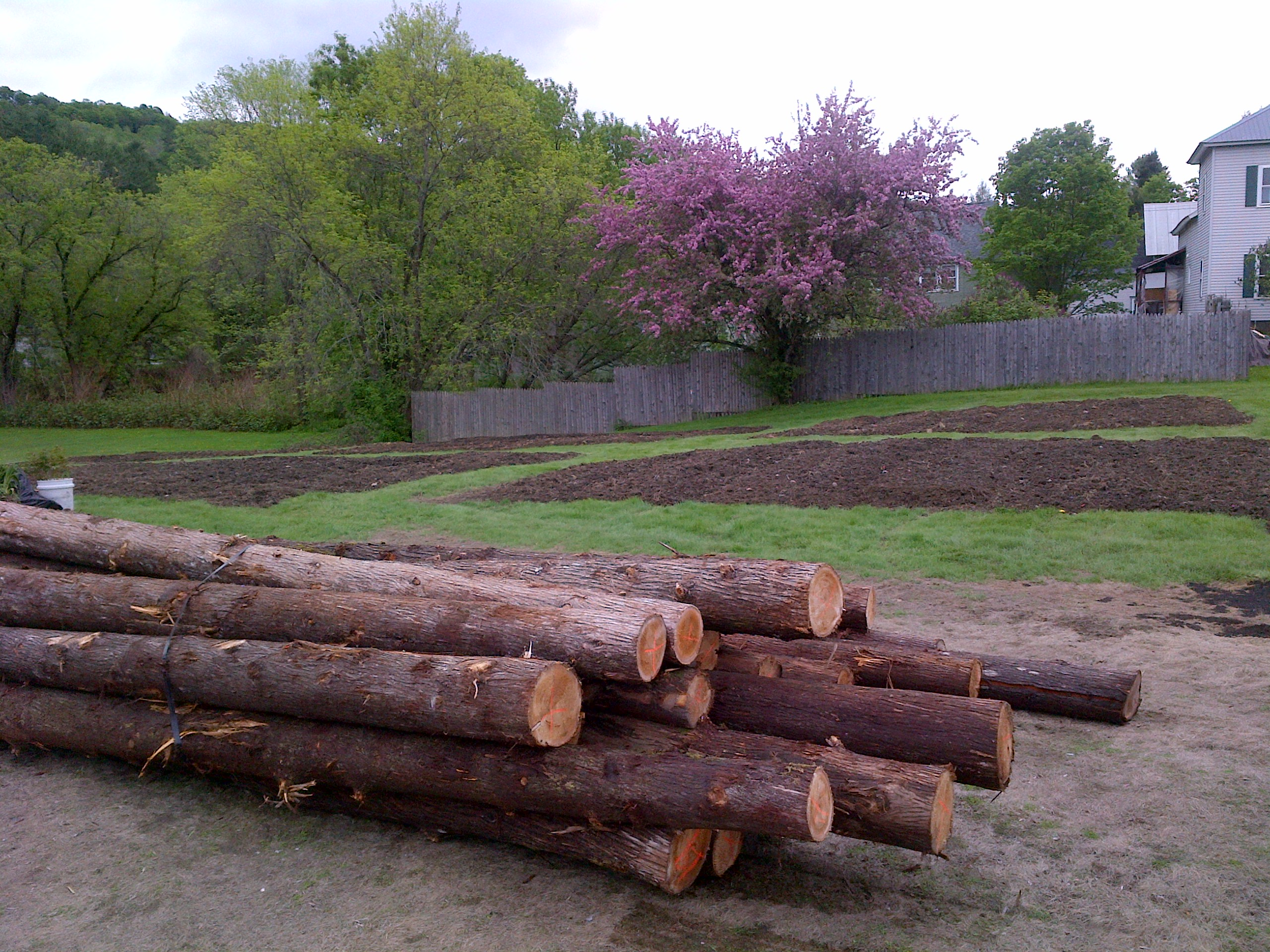 Next project: Peeling bark off cedar fence posts & getting a post hole digger over here