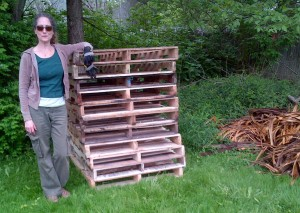 We'll build a composting system from these pallets our garden coordinator Cindy just scored