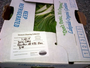 Boxed & labeled bok choy