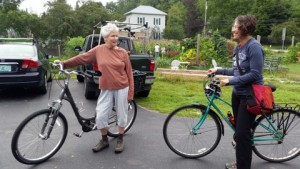 Gardeners arrive by various conveyances
